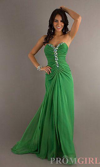 1e63e747e89 Mardi Gras ball dress! Floor Length Strapless Alyce Dress at PromGirl.com