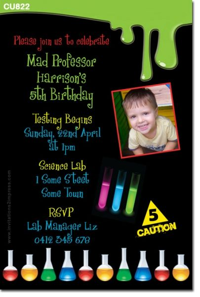 CU822 Kids Science Themed Birthday Invitation MAD SCIENCE