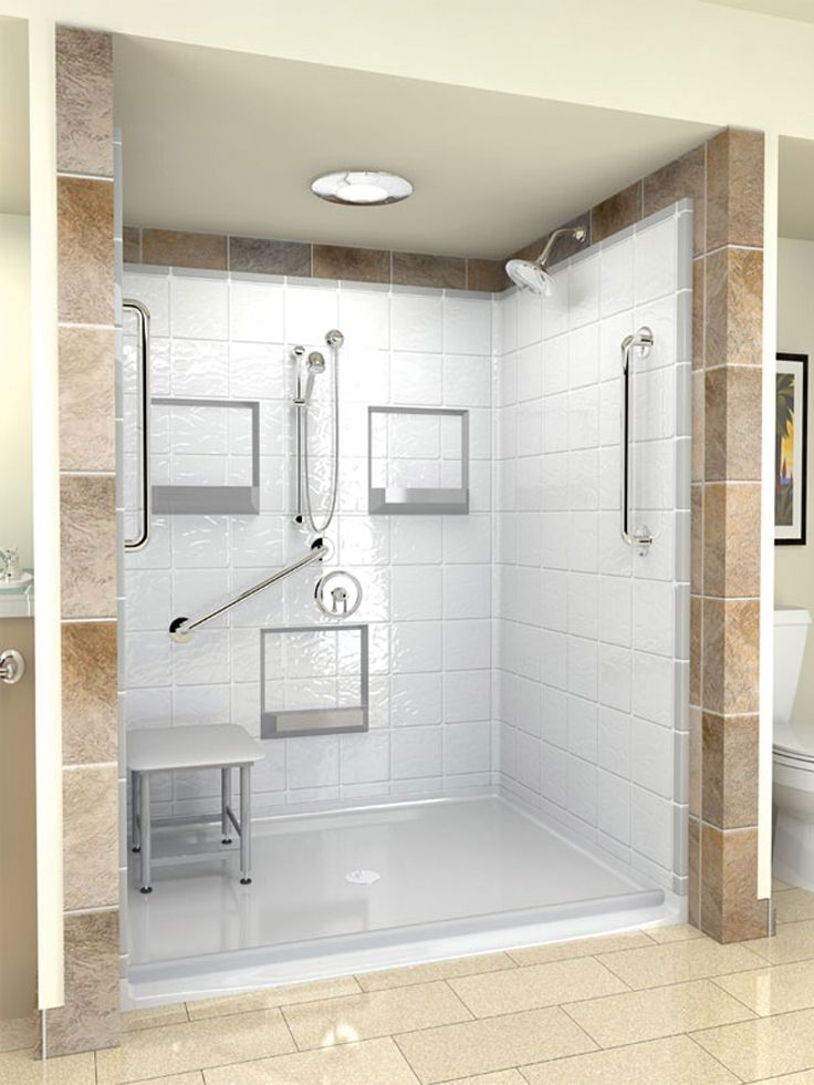 Bathroom Handicap Stalls one piece shower with tile surround - bing images | bathroom