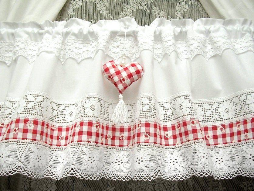 Karo Landhausgardine Weiss Rot Herz Kitchen Window Valance Etsy Shabby Chic Curtains No Sew Curtains Elegant Curtains