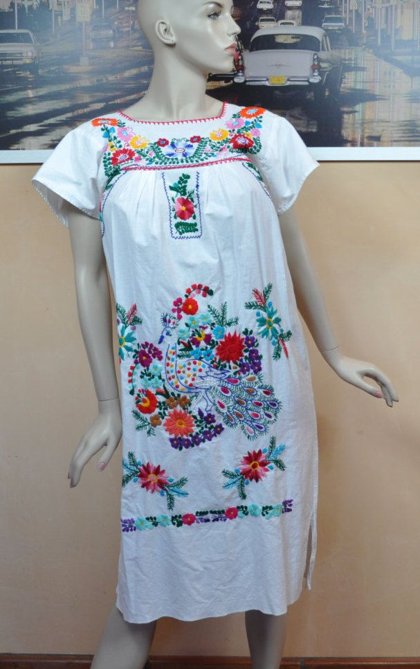 Vintage 70s All-Over Cut -out Mexican Embroidery BOHO Party Wedding Mini Dress  Cotton