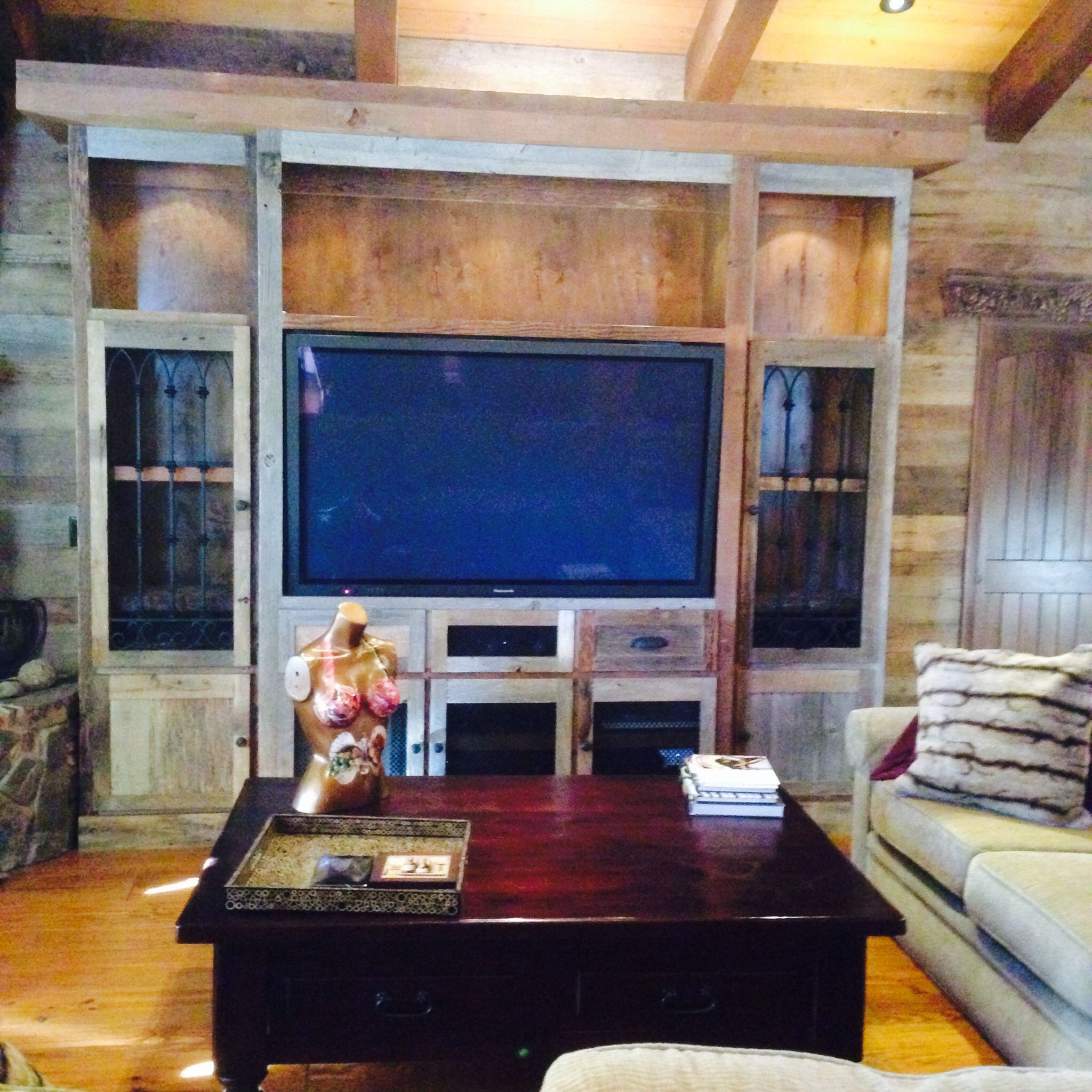 Custom reclaimed barn wood entertainment center. www.custom ...
