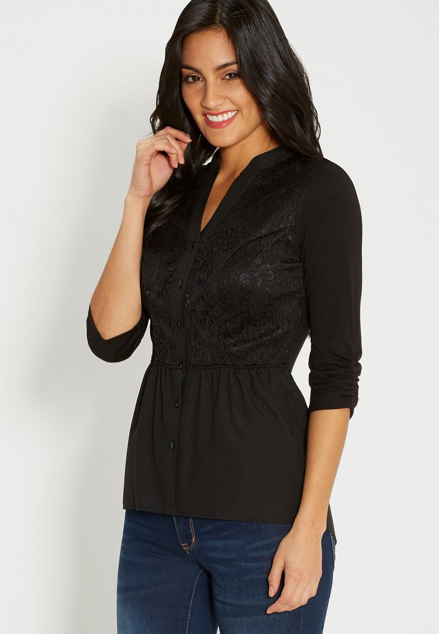 Button down blouse with lace original price available at