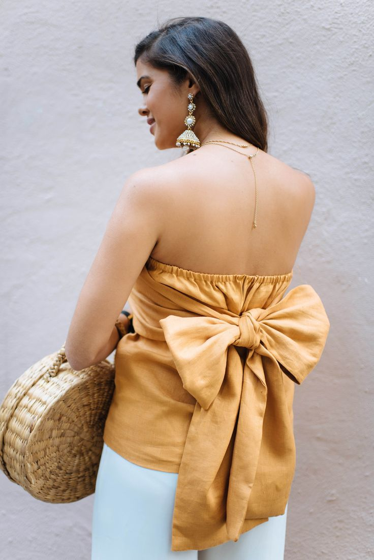DIY Strapless Bow Top | Women's Tops and Tunic Patterns in 2019