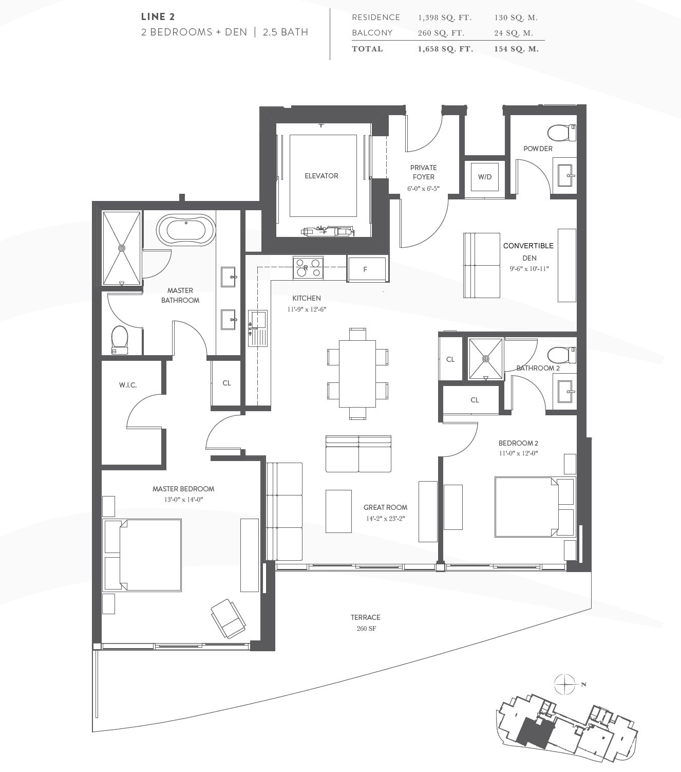 Aurora Floor Plan Line 02 2 Bedroom 2 5 Bathroom Den Residences Include 10 Ceilings Private Curved Ter Floor To Ceiling Windows Floor Plans House Plans