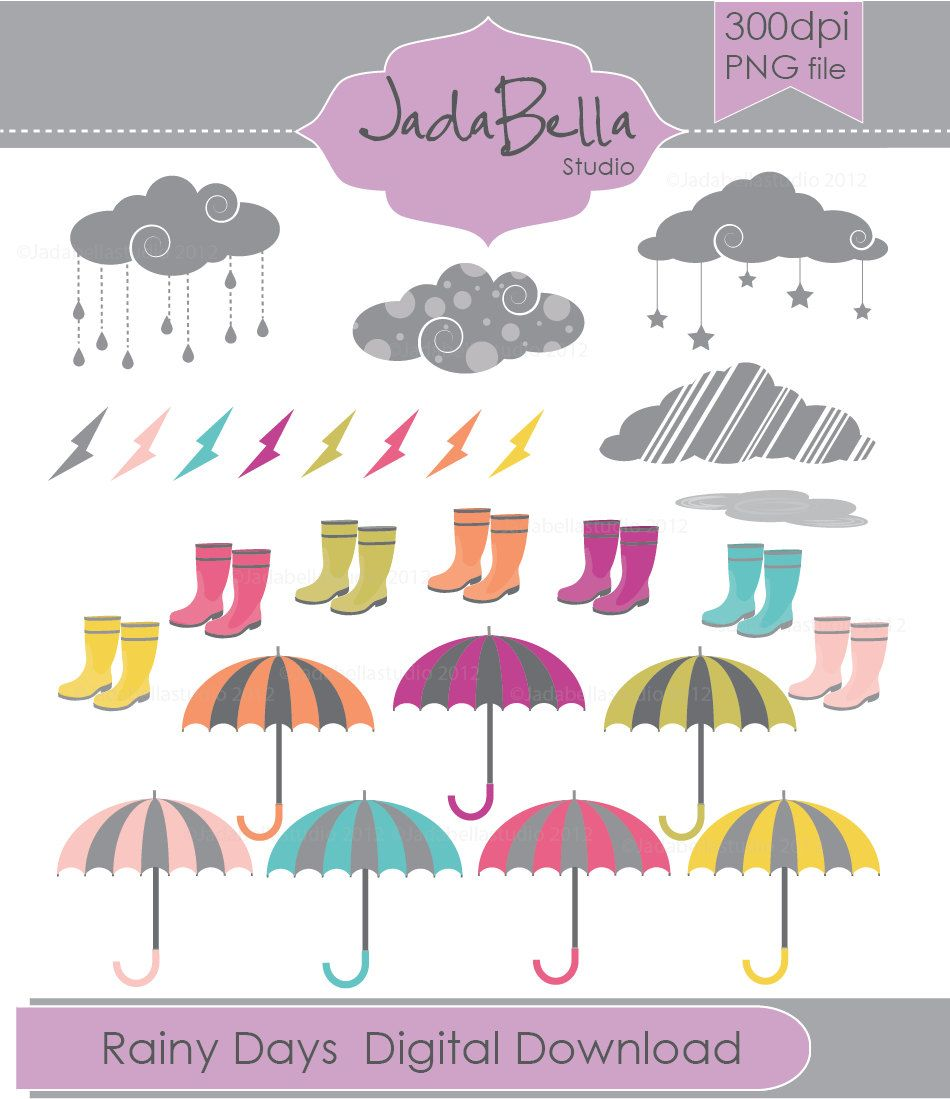 25ef6c963 Instant Download Rainy day Clipart 49 piece graphic file download/printable  Personal and Small commercial use. $6.00, via Etsy.