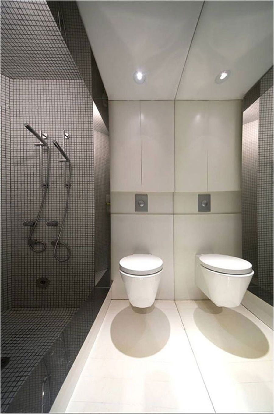 Bathroom Stal Minimalist reflection - the throwing backa body or surface of light, heat
