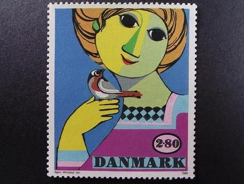 The Art of Postage Stamps Design - Denmark 1986 postage - Artist Bjorn Wiinblad