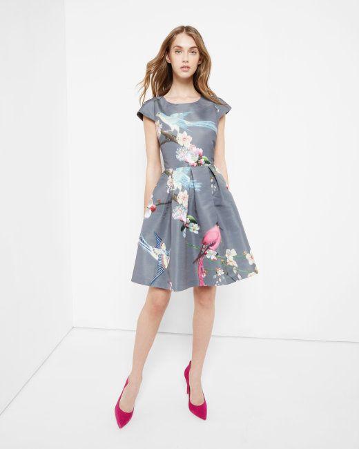 Flight of the Orient print dress - Light Grey | Dresses | Ted Baker ...