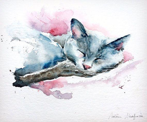 Aquarelle Originale Livraison Gratuite Chat Endormi Peinture