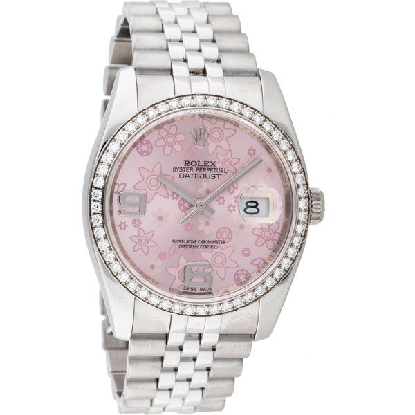 Pre-owned Rolex Oyster Perpetual Datejust Watch (€9.945) ❤ liked on Polyvore featuring jewelry, watches, 18k watches, rolex watches, flower jewelry, preowned jewelry and bezel watches
