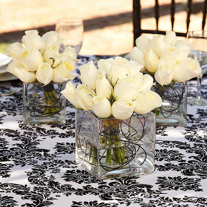 Centerpieces White Roses with Black Wire - Creating Simple, Sensational Centerpieces Unique DIY Wedding