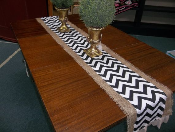 Burlap And Navy Chevron Duck Table Runner Pick Your Length, Burlap Table  Cloth, Burlap Kitchen Linen, Burlap Litchen Linen