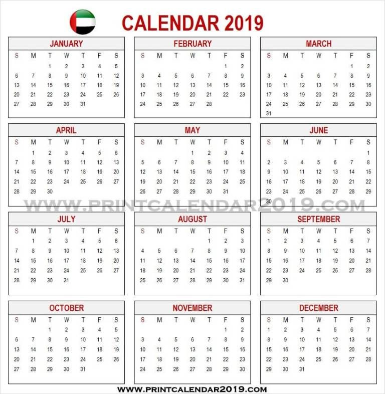 Uae Calendar 2019 With Holidays Calendar 2019 With Holidays 2019 Calendar Holiday Templates