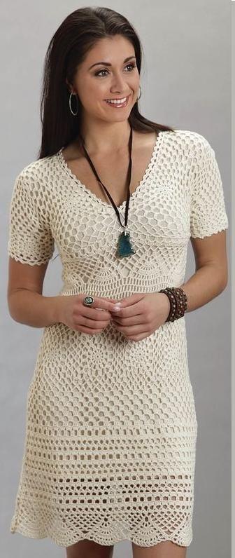 Stetson® Cream Crochet Lace Cap Sleeve V-neck Western Dress