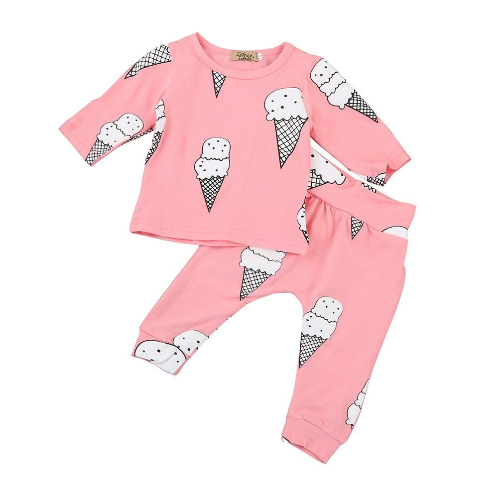 Baby Girls Outfit Set Long Sleeved Top Leggings Cute Cotton Newborn T-shirt Soft