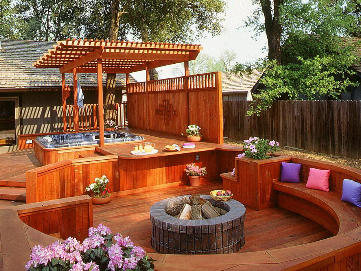 Small deck ideas with hot tub home design ideas for Garden decking ideas pinterest
