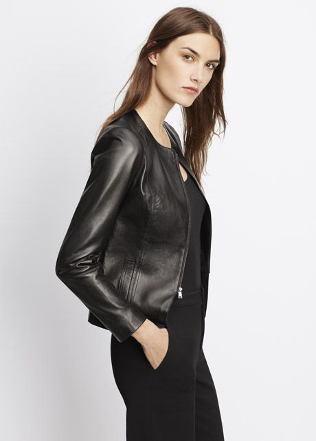 f30bc9c3b Tailored Collarless Leather Jacket | Vince | Fall 2 in 2019 ...