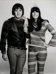 In 1967, I think, I had an outfit designed by Cher. It looked like this and was purple with shocking pink and skinny lime stripes. Cotton double-knit top and bell-bottoms.