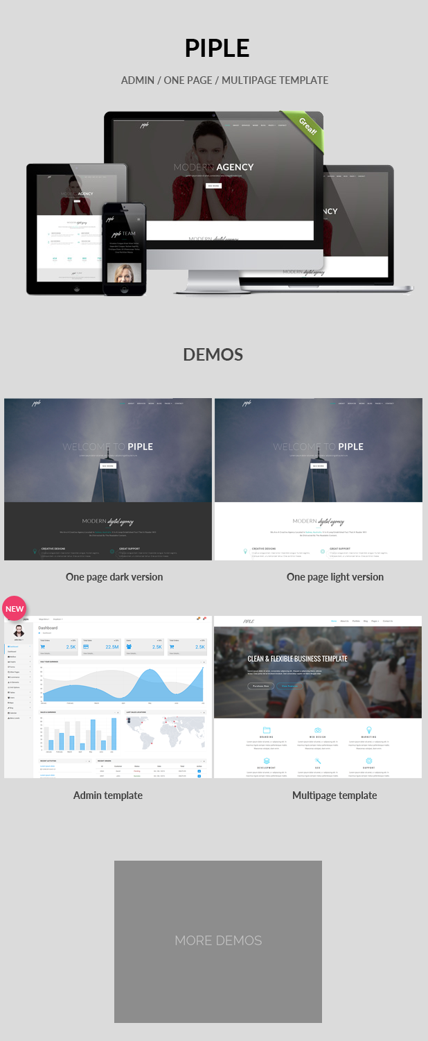 Piple is a simple and minimal Admin + one / multi page template ...