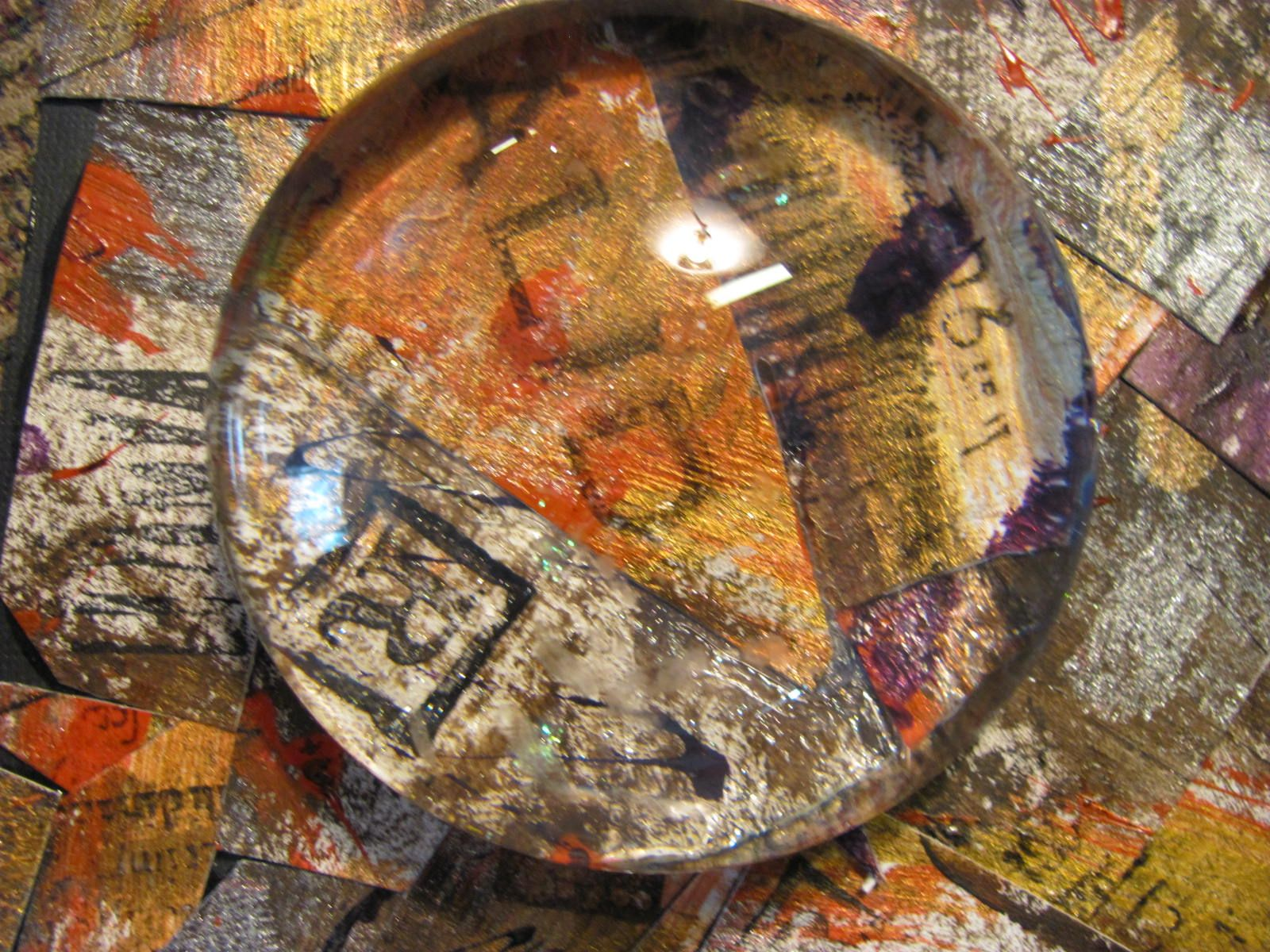 painted and collaged paperweight. This is so cool!!