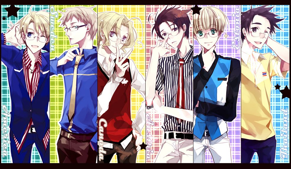 Guys with glasses: Alfred, Berwald, Matthew, Roderich, Eduard, Thailand (needs a name) - Art by Mixed Blessing