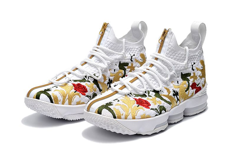 Nike LeBron 15 XV Floral Embroidery White Red Gold  24c735bb82