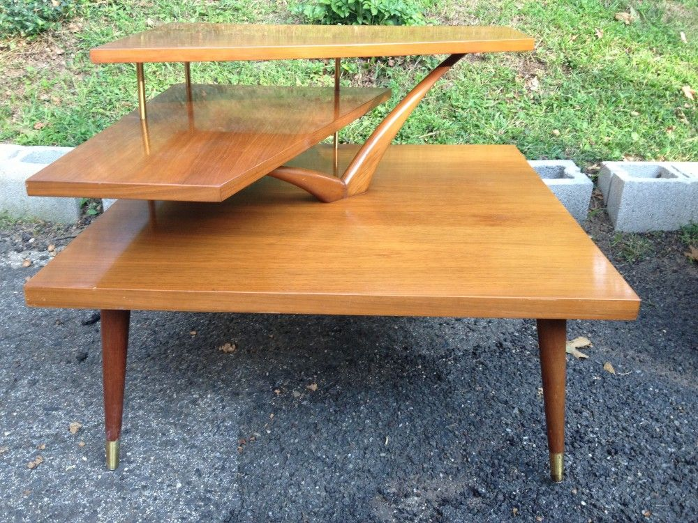 Three Tiered Mid Century Modern Corner Table   Attainable Vintage