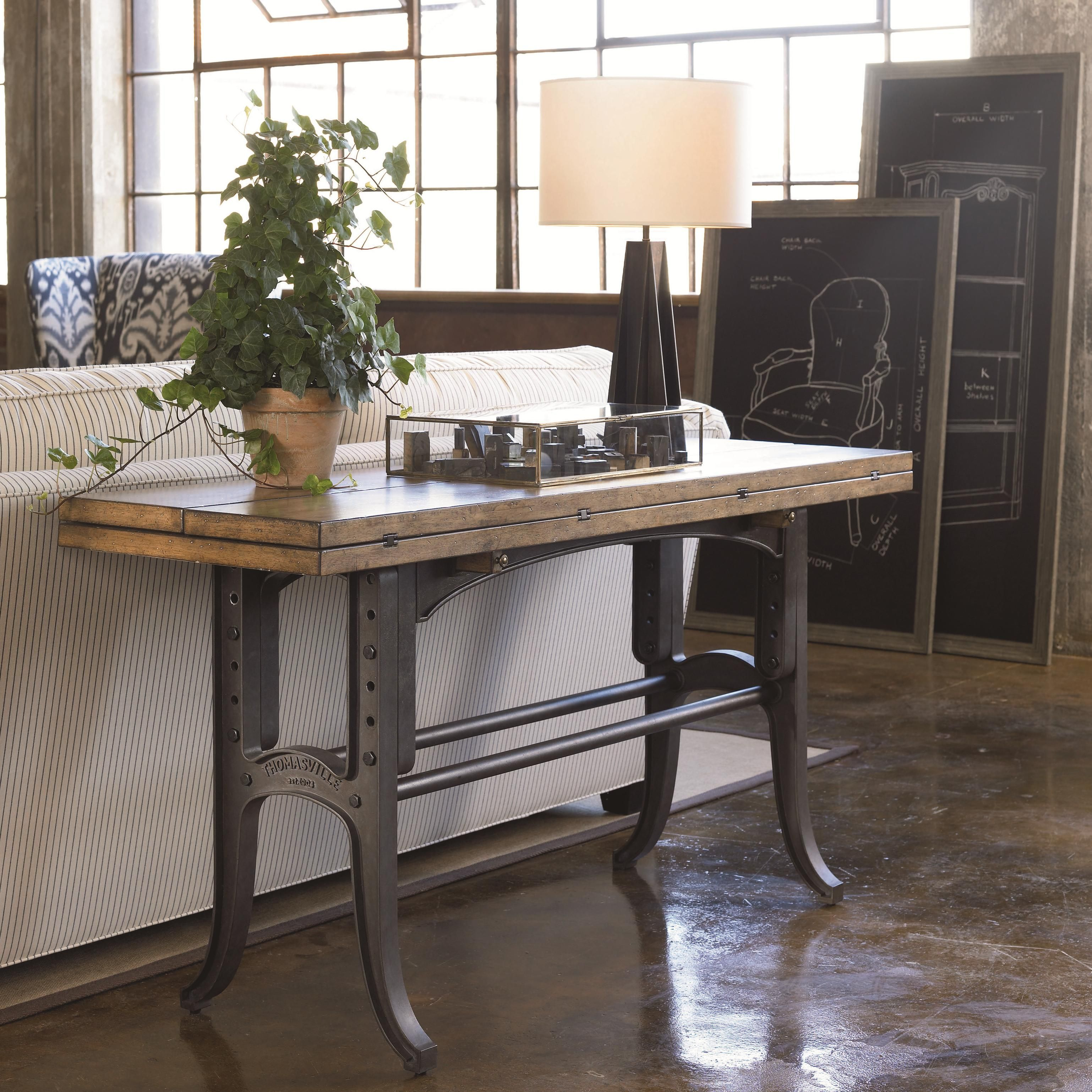 Reinventions boulton and watt flip top console table by reinventions boulton and watt flip top console table by thomasville industrial style geotapseo Gallery