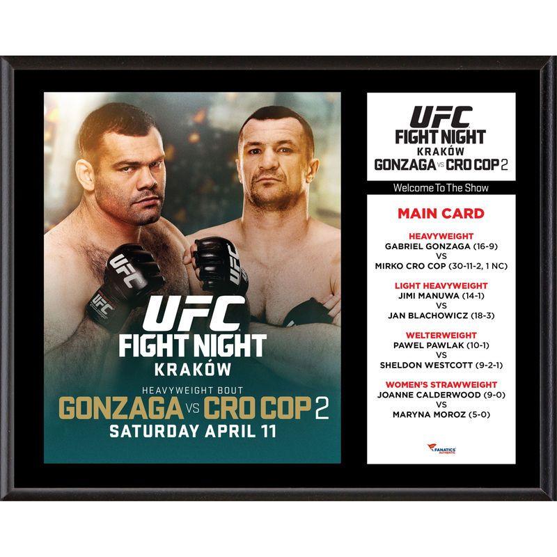 Fanatics Authentic Ufc Fight Night Gabriel Gonzaga Vs Mirko Cro Cop Filipovic 12 X 15 Sublimated Plaque Fight Night Ufc