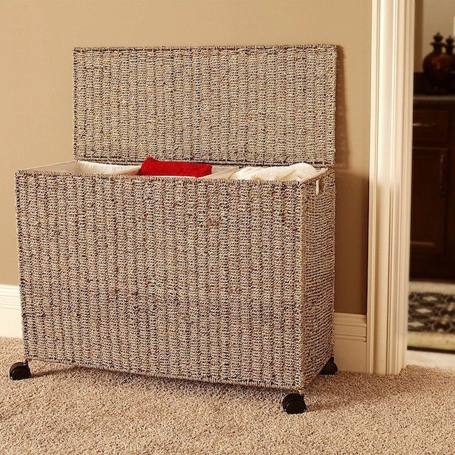 Laundry Basket Hamper Sorter Wicker Baskets 3 Bag Organizer Bin
