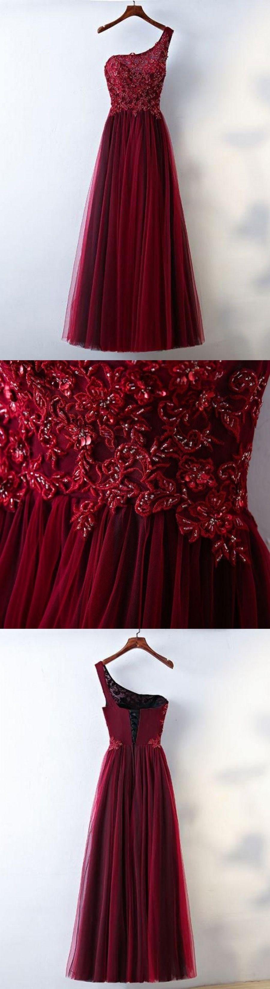 Burgundy prom dresses aline one shoulder appliques laceup long