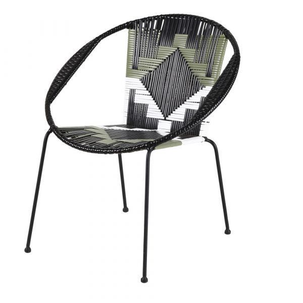 Black Resin Outdoor Armchair With White And Green Graphic Prints In 2020 Garden Furniture Inspiration Outdoor Armchair Armchair
