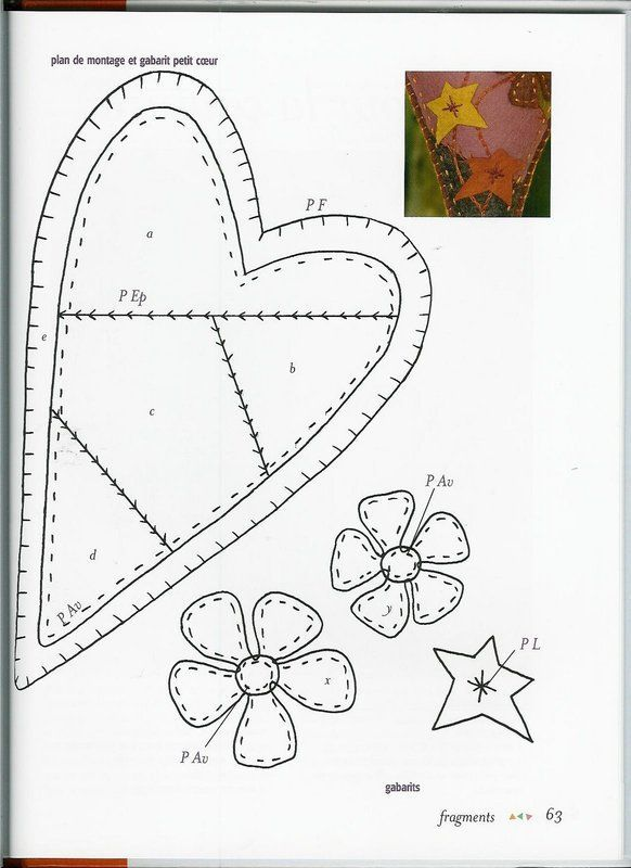 fuxico crazy heart heart template and crazy patchwork