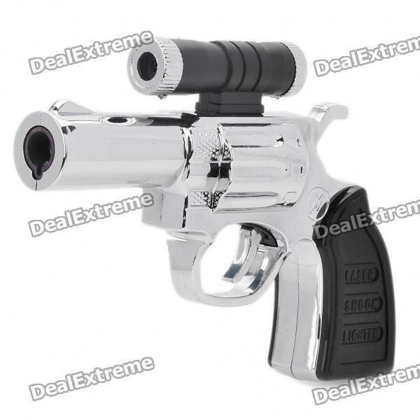 Gun Pistol Style Electric Shock Butane Torch Lighter with Red Laser Light (3 x LR44)