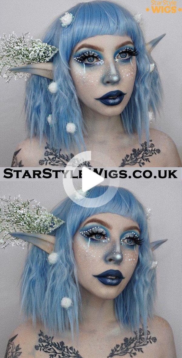 Blue Wavy Bob Wig in 2020 Christmas elf makeup, Elf