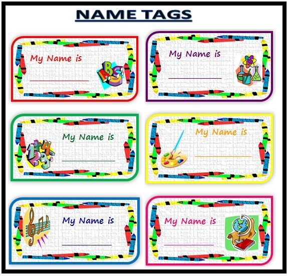 Name Tag For School, Name Tags