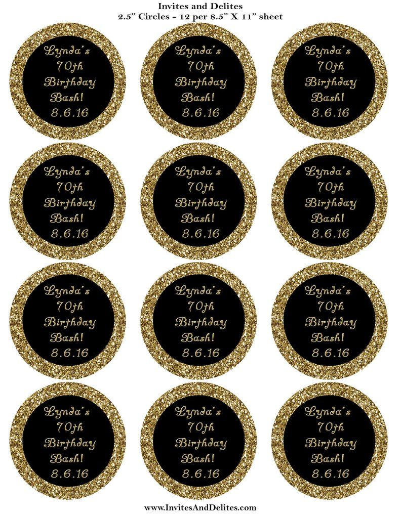 Gold glitter and black personalized 2 5 sticker labels custom print invites and delites