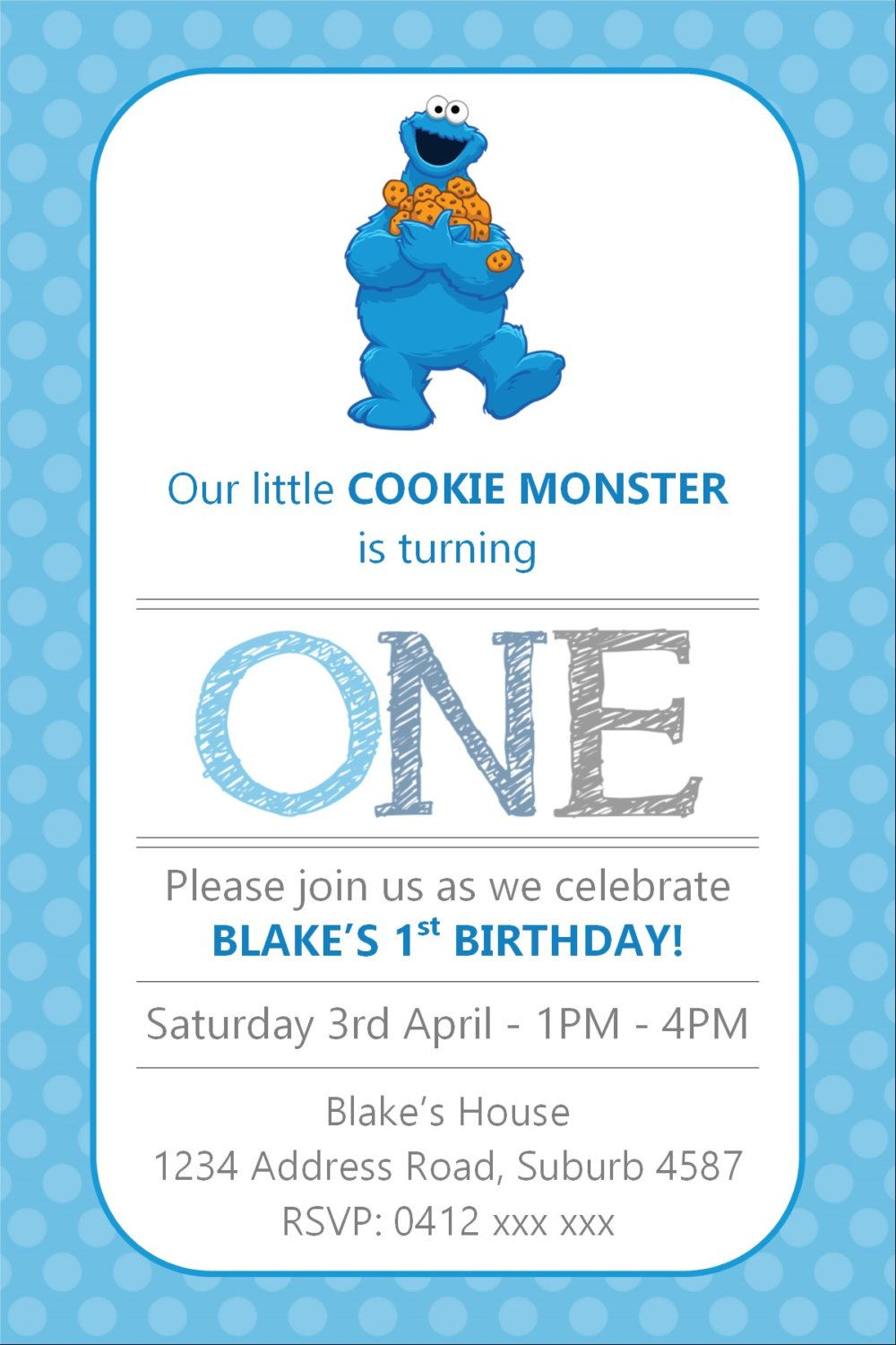 Cookie Monster Birthday Invitation - Any Age - Sesame Street - YOU ...