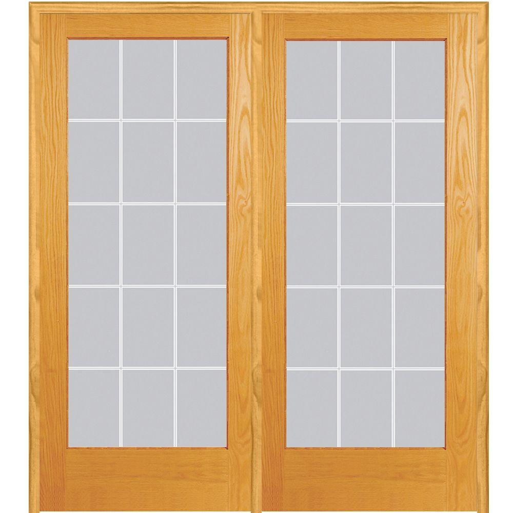 Mmi Door 72 In X 80 In Left Hand Active Unfinished Pine Glass 15 Lite Clear V Groove Prehung Interior French Door Z019971l Prehung Interior French Doors French Doors Glass French Doors