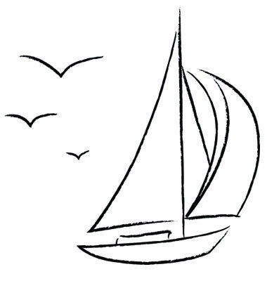 Chalk Sailboat With Birds Outline Vector Image On With Images