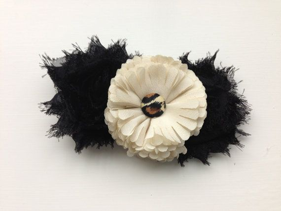 Leopard Black and White Large Lacey Flower by TheEmbellishCompany, $4.00