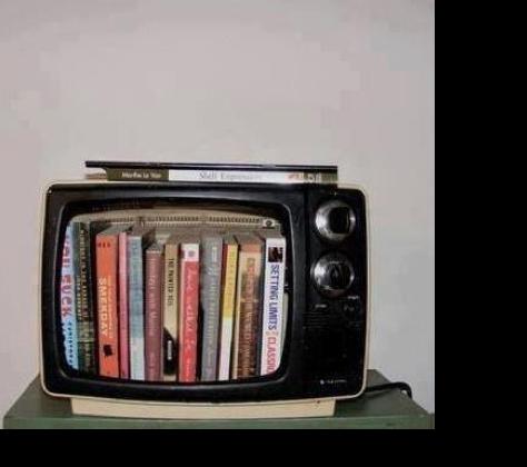 televisor con libros.