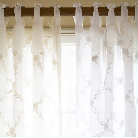 This Sheer, Linen Voile Curtain Panel Is Embroidered With An All Over  Trellis Pattern  Linen Curtain Panels