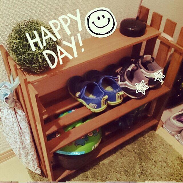 グリーンボール/ヘルメット置き場/子供の靴/靴収納/セリアニス/セリア