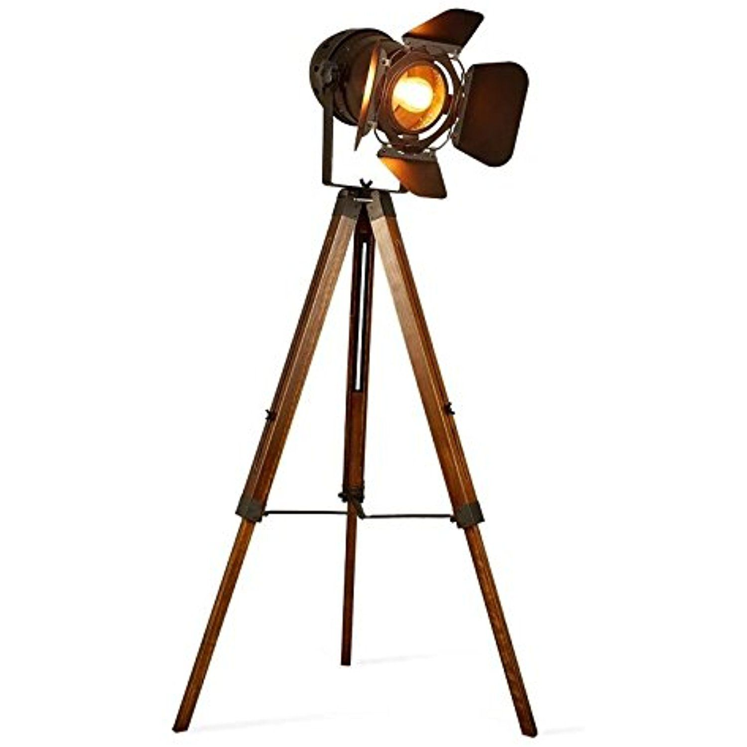 Decoluce Vintage Tripod Floor Desk Lamp Nautical Teatre Retro Spotlight Industrial Decor Wooden Lig Tripod Floor Lamps Wooden Light Fixtures Vintage Floor Lamp