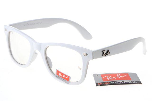 Ray Ban Wayfarer RB2140 White Frame Transparent Lens $14.87