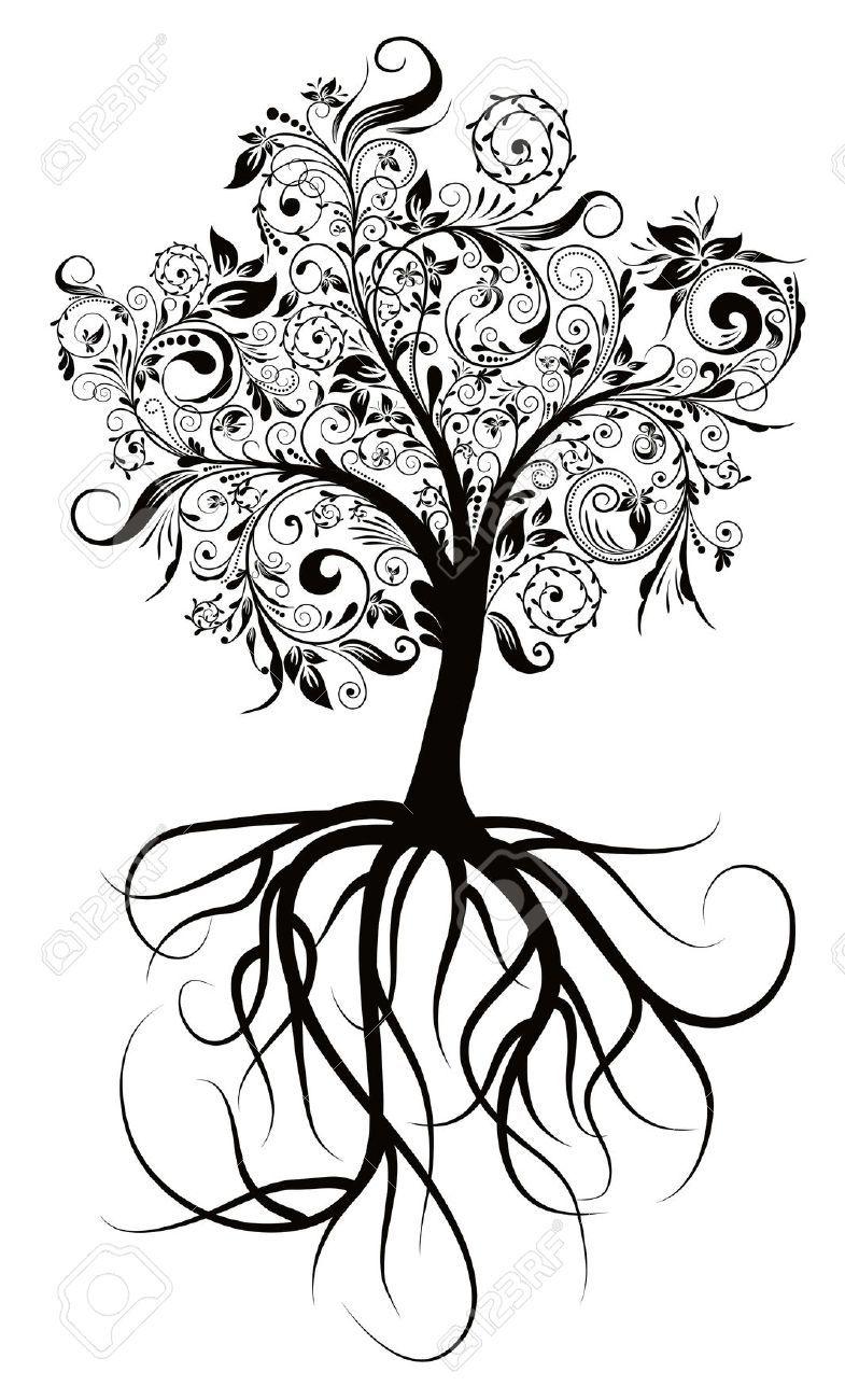 Les Arbres Decoratifs Racines Illustration Vectorielle Tatoo