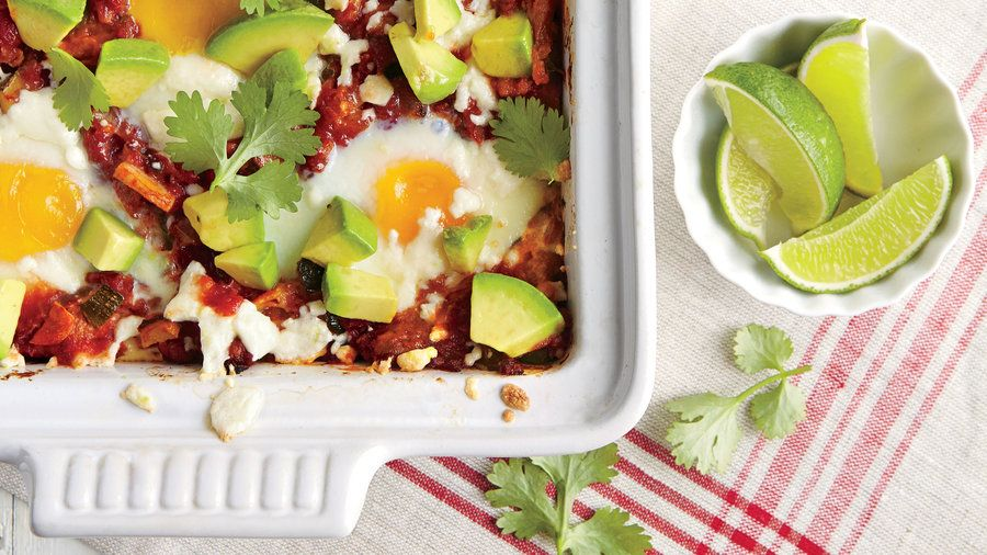 Chilaquiles Casserole | Wake up to Cajun Shakshuka, Chilaquiles Casserole, Double-Berry French Toast, and more.