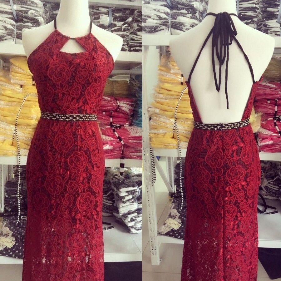 Sexy halter sheath lace backless long dark red promevening dress